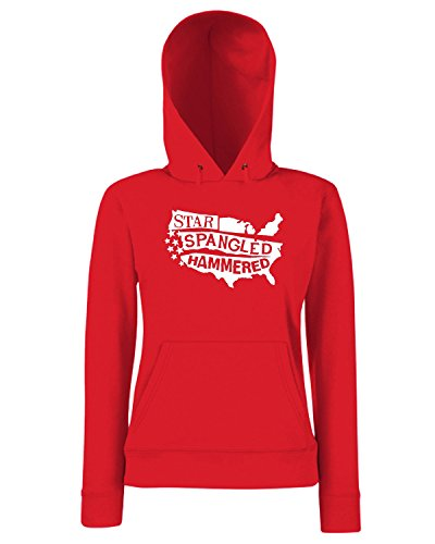 T-Shirtshock - Sweats a capuche Femme FUN0152 06 17 2013 Star Spangled Hammered T SHIRT det Rouge