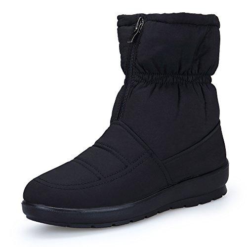 KOUDYEN Damen Winter Schuhe Pelz Stiefel Schneestiefel Stiefeletten Boots Booties,MX1308-Black-EU39 (Winter-schnee-stiefel)