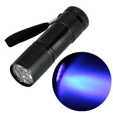 Lanlan UV 9LED Blacklight Taschenlampe Inspektion auf Teppich- und andere Oberflächen Fleck und Urin Detektor für Hunde & Katzen Fehler nutzt UV-Licht zu Spot Trocknen Pet Urin für Skorpion Jagd schwarz (Led-stinger-taschenlampe)
