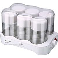JATA PAE YG493 YOGURTERA Blanca 6 TARRINAS DE Cristal, 7500 W, 0.17 litros, Acero Inoxidable, plástico, Transparente, Color