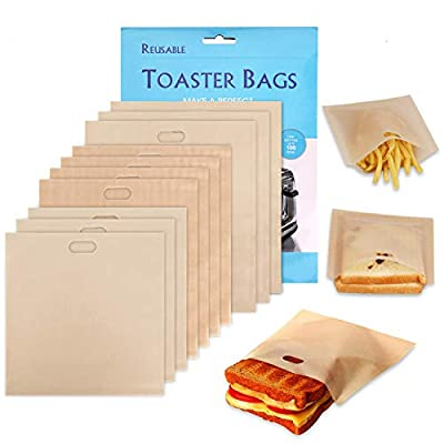 Non-Stick Reusable Toaster Bags Washable - XREXS Pack of 10 Teflon Reusable Snacks Bags Toaster Storage Bags for Toast Sandwich Panini Snacks, Suit for Microwave Grill Toaster Reuse 100 Times FDA