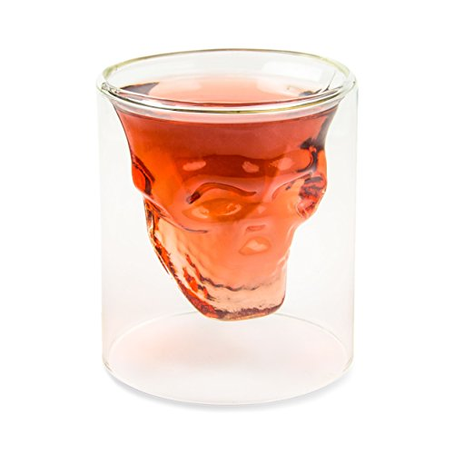 Totenkopfglas (200ml), Skullglas für die Hausbar, Party, Halloween, Geschenk im Totenkopfdesign, für Bier, Wein, Longdrinks, Cocktailglas, Shots, Totenkopf, Metal, Rock,...