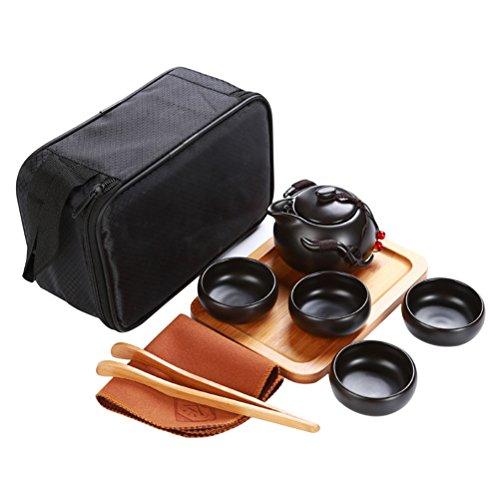 BESTONZON Handgefertigte Reise Kungfu Porzellan Tee-Set, Teekanne Teetassen Tee TrayTea Tuch mit einer Protable Reisetasche (schwarz) (Eine Chinesische Tee-geschenk-set)
