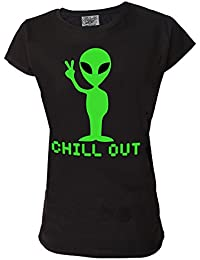 Alien Chill Out Genuine Darkside Womens T Shirt Funny Supernatural Sci Fi Geeky Slogan T Shirt