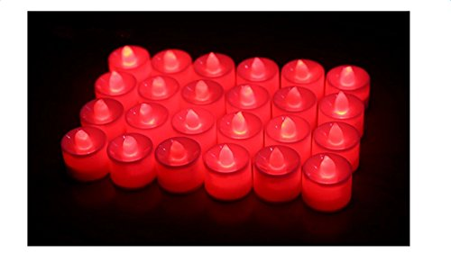 LED Velas Luces, Mytobang Juego de 24 Amber LED Candles Tea Lights, Flameless Tea Luces para Decoración, Festivales, Bodas Día de San Valentín con las baterías (rojo)