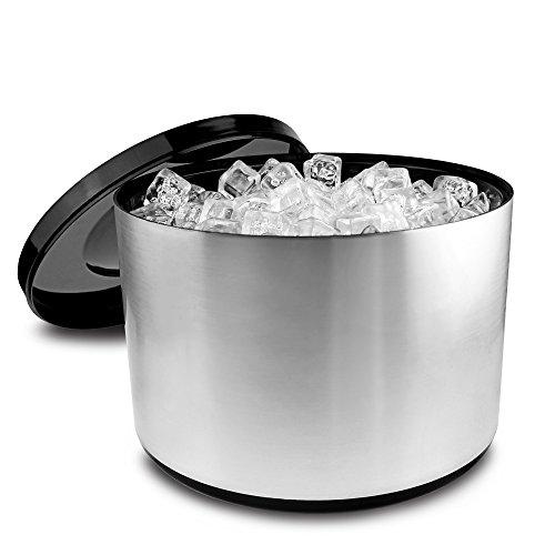 Eiswürfelbehälter mit Deckel, 10 Liter Kühler Runde Eiskübel Eiseimer - gebürstetem Aluminium