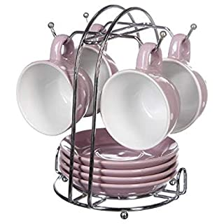 amara-global 9tlg. Set Tassen mit Unterteller Basic Kaffeetassen Untertassen Metallständer (Lila)