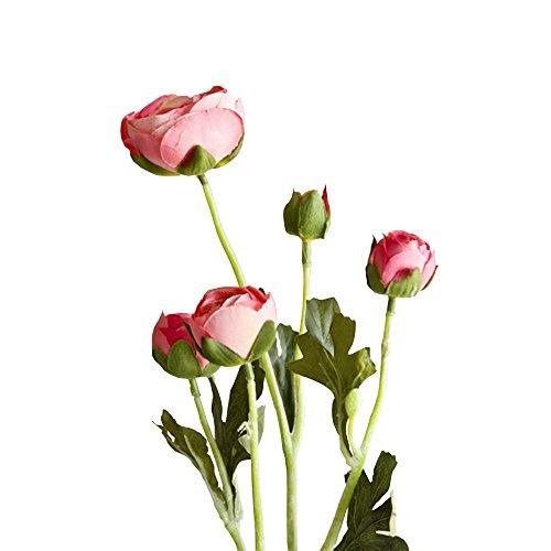 Jia HU 1pièce Tête de fleurs artificielles Pivoine de 5 Pivoine arrangements plantes d'intérieur Décoration extérieure rose foncé