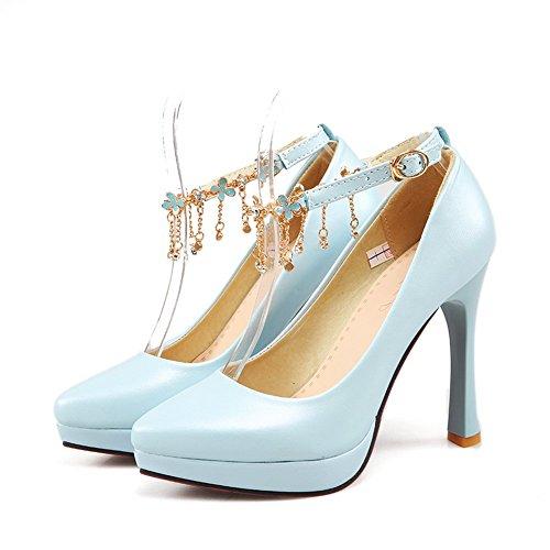 Blau Leder Patent Damen toe Massive Adee Pointed Schuhe Pumpen Schnalle wZnq1C6z