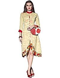 Lords Cream Georgette Stitched Printed With Embroidery Kurti
