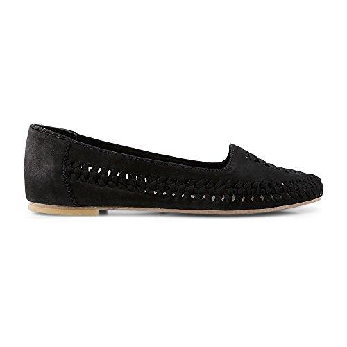 Cox Damen Leder Ballerina für Damen, Schlupf Ballerinas in Schwarz mit Flexibler Laufsohle schwarz Leder 38
