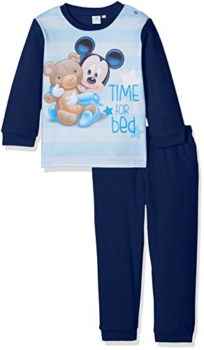 Disney mickey mouse time for bed, pigiama bimbo, blu (navy 19-4027tc), 24 mesi