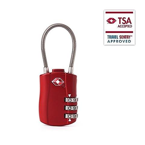 TSA Lock Gepäckschloss Drahtseil-Kabelschloss Reiseschloss TSA Approved FOXAS 3-Stellige Zahlenkombination Zahlenschloss Kofferschloss