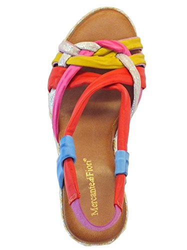 Sandali per donna Mercante di Fiori in pelle multicolore rosso giallo blu argento fuxya Multicolor
