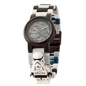 Armbanduhr Lego Star Wars – Stormtrooper, inklusive 12 zusätzlichen Armbandgliedern, Lego Minifigur im Armband integriert, analoges Ziffernblatt, kratzfestes Acrylglas