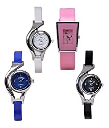 Shivam Fancy Round Dial And Bracelet Rubbers Straps Analog Watch For Girls & Womens, Pack Of 4