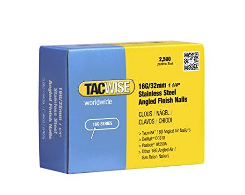 Tacwise Clous de Finition à Angle 16 GA / 32 mm en Acier Inoxydable (Lot de 2 500 Pièces)