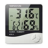 #1: Krevia New Indoor Digital Humidity Meter Hygrometer Thermometer with Large LCD Display Temperature Alarm Clock (HTC-1)