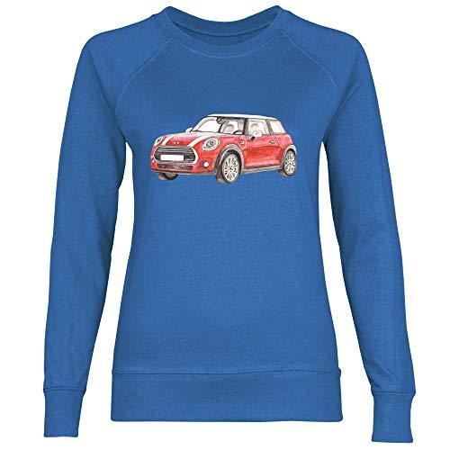 Royal Shirt Damen Sweatshirt Kleines rotes Auto für Autoliebhaber, Größe:M, Farbe:Royal Blue