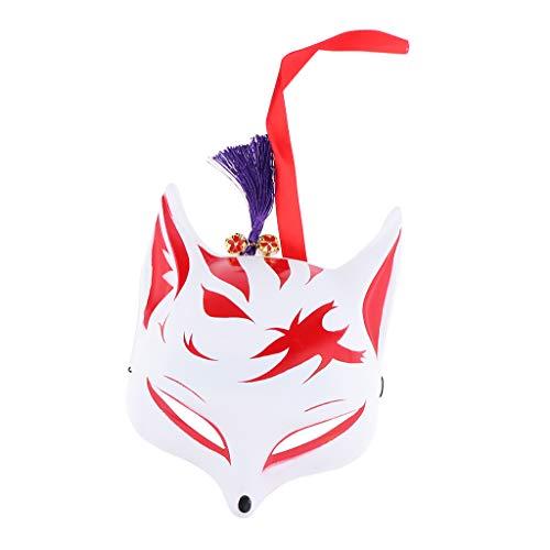 F Fityle Fox Makse Japanische Kostüm Cosplay Fuchs für Herren Damen Kinder - - Japanische Kostüm Kinder