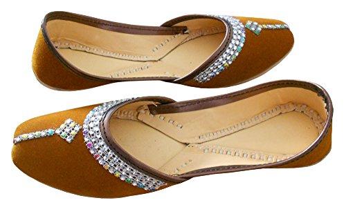 KALRA Creations Traditionelle Samt der Frauen Leder indischen Bräutigam Schuhe Braun