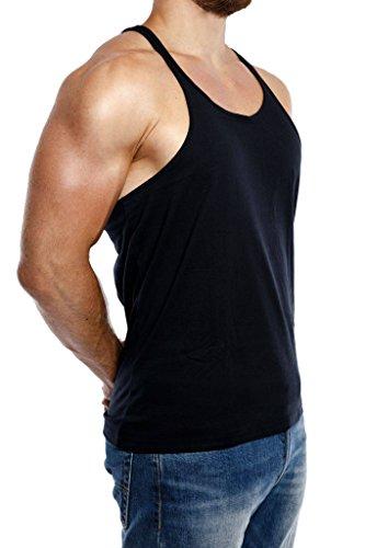 Stringer Tank Top Herren Gym Muskelshirt aus 100% Baumwolle in schwarz & weiss   Fitness & Bodybuilding Muscle Shirt - 3