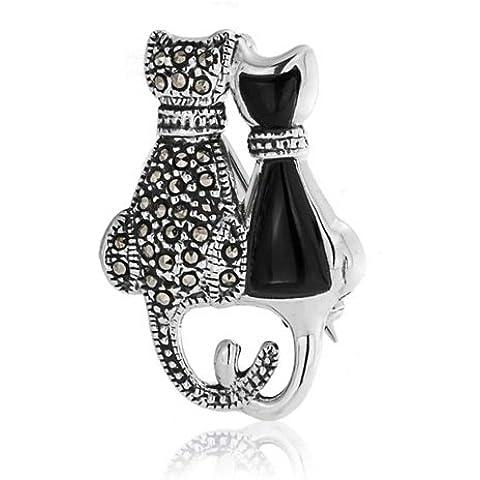Bling Jewelry Onyx simulato Resina Marcasite due Cat 925 Argento Spilla pendente