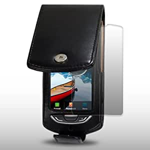 SAMSUNG S5620 MONTE BLACK SOFT LEATHER FLIP CASE WITH SCREEN PROTECTOR BY CELLAPOD CASES