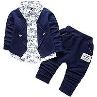 Hawkimin Baby Junge Langarm Anzug mit Blumen + einfarbige Lange Hosen mit zweiteiligem Anzug