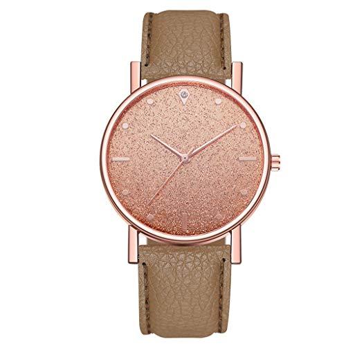 Fenverk Unisex Armbanduhr Damen-Uhr Herren-Uhr, Analog Display, Quarzwerk, Kunst-Leder-Armband, Chronograph-Optik(Brown)