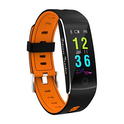 Fitness Tracker Smart Armband F10 Farbdisplay Pulsmesser IP68 Wasserdicht Touchscreen Bluetooth Schrittzähler Armband Schlaf-Monitor Für Frauen Männer Android Und IOS,Orange