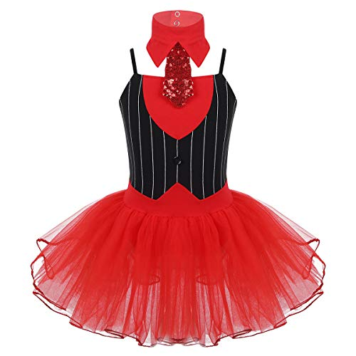 inhzoy Kinder Mädchen Weihnachtskostüm Outfit Gestreiftes Tutu Kleid mit Krawatte Set für Party Tanz Performance Schwarz & Rot - Weihnachten Elf Dance Kostüm