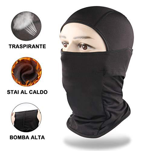 Jteng passamontagna maschera,tessuto sottile e traspirante ideale per moto, ciclismo, corsa outdoor balaclava adatto a tutte le stagioni, protezione solare antivento(nero)