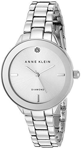 Anne Klein Femme AK/2305svsv Diamond-Accented Cadran argenté Bracelet de Montre