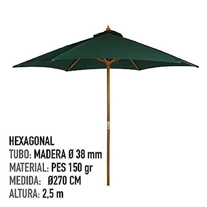 Aktive Garden 53862 – Parasol Hexagonal Diámetro 270 cm, Mástilil Madera 38 mm, Color Verde
