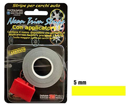 quattroerre 10353Tiras Adhesivas reflectantes para círculos coche, Amarillo, 5mm x 6metros