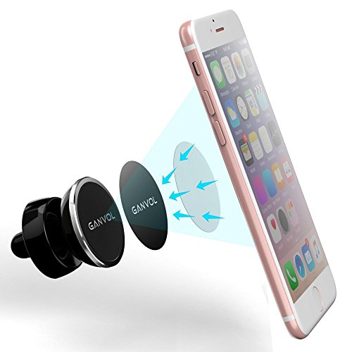 Ganvol Universal Air Vent Mount Magnet für große Handy iPhone 8 7 6S 6 Plus SE 5S, Samsung S8 Edge S7 S6 S5 Neo Note 8 5 4, Google Pixel, Huawei Mate 9 8 Plus Lite, Honor P10 P9 P8, silber (Air-vent-mount)