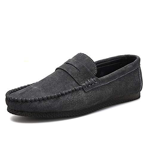 Sportliche Wildleder-kappe (BBTK Mode Driving Loafer Für Männer Boot Mokassins Slip On Wildleder Klassische Leichte Runde Kappe Freizeitschuhe (Color : Grau, Größe : 43 EU))