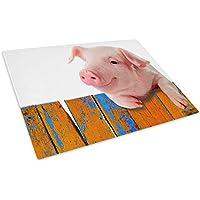 Pink Pig Orange Blue Cool Glass Chopping Board Kitchen Worktop Saver Protector