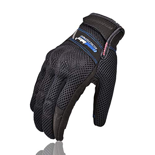 Guanti Estivi Full Finger Moto Guanti Tech Touch Guanti di Duro Knuckle per Militare tattico Airsoft Outdoor Sport Ciclismo Powersports Racing Guanti,Blue,M