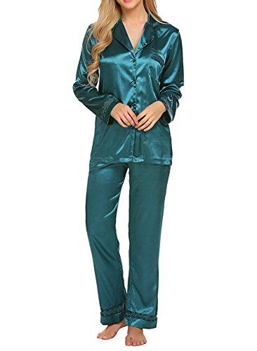 HOTOUCH Damen Herbstr Klassische Schlafanzug Satin V-Ausschnitt Zweiteiliges Pyjama Set (Pyjama Set Baumwoll-satin)