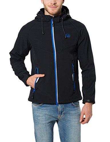 Ultrasport Herren Softshelljacke Miro Schwarz/Blau, L Kapuzen Sport Jacke
