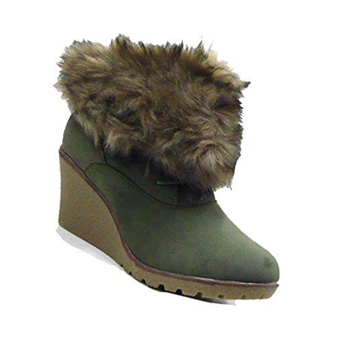 Schuh-City Robuste Damen Schuhe Stiefelette Kunst Fell Rand Grün