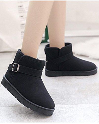 Minetom Damen Winter Baumwolle Stiefel Beiläufig Knöchel Schuhe Boots Plüsch Gepolstert Schnee Stiefel Mit Schnalle Schwarz