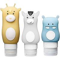 LeRan Set de botellas de viaje de silicona envase de loción exprimible Bolsas de almacenamiento cosméticas recargables que incluyen botella de champú, botella de acondicionador, botella de artículos