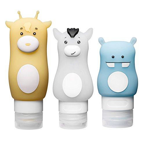 LeRan Set de botellas de viaje de silicona envase de loción exprimibl