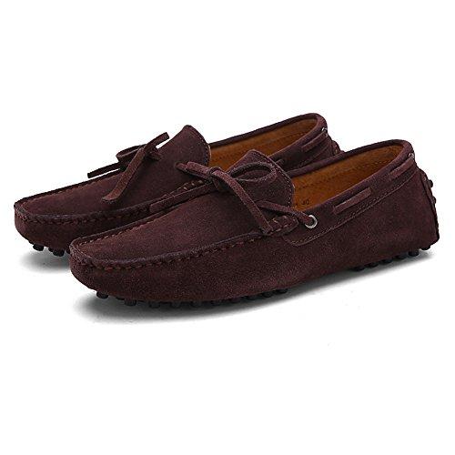 Rismart Hommes Confort Suede Mocassins Doux Cuir Véritable Chaussures de Conduite 3660M Café