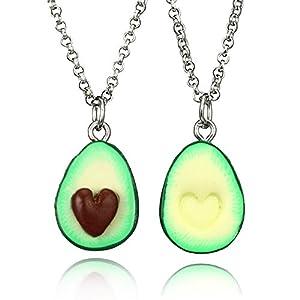 MJARTORIA Mädchen Süß Halskette Avocado Anhänger Weiche Keramik Anhänger Kinder BFF Ketten für 2 Silber Farbe 2 Stück