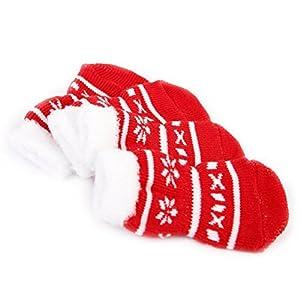 ROSENICE 4pcs anti dérapant chaussettes chien chiot chat coton chaussettes Noël Paw Prints