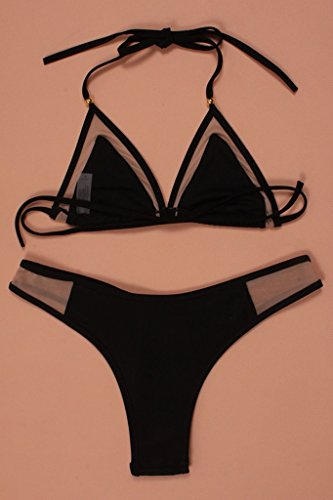 KK Go Frauen Verband Netz Triangle String Bikini-gesetzte Badeanzug Bademode Tankini Strand Bikini Schwarz